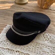 Hat Female Autumn Winter Chains Octagonal Cap Ins Internet-Famous and Vintage British Korean All-Mat