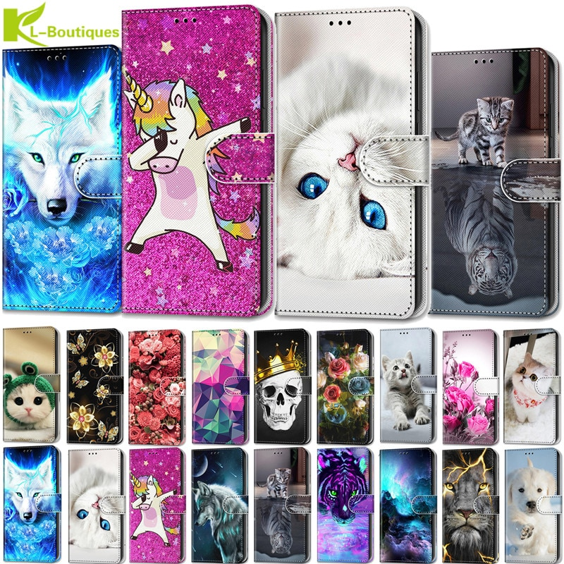 Luxury Animal painted Flower leather case etui for Huawei P20 P30 Lite Pro P8 P9 Lite 2017 Cover Fli