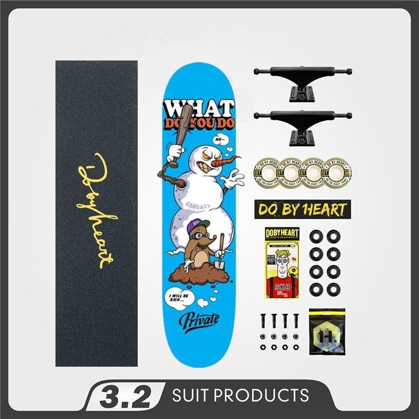 Privado concluído qualidade canadense skate deck 8.0/8.125/7.875 skate board rodas 52mm & caminhões skate acessórios
