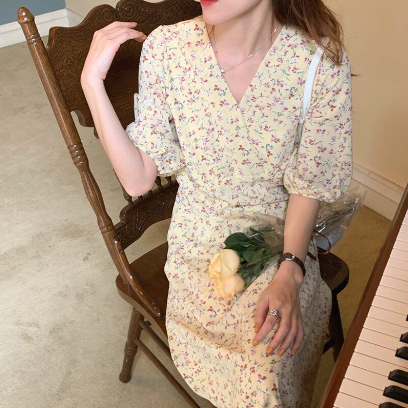 Women Summer Sexy V Neck Vintage Oil Panting Flower Long Chiffon Dress Half Sleeve High Waist Midi Sundress
