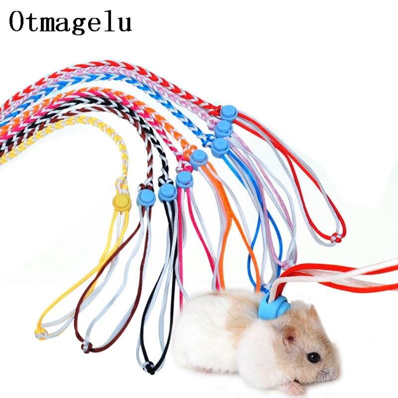 Pet Hamster Leash Harness Rope 2m Adjustable Bunny Cotton Rope Harness Lead Collar for Ferret Squirrel Rabbit Hamster Pet Leash