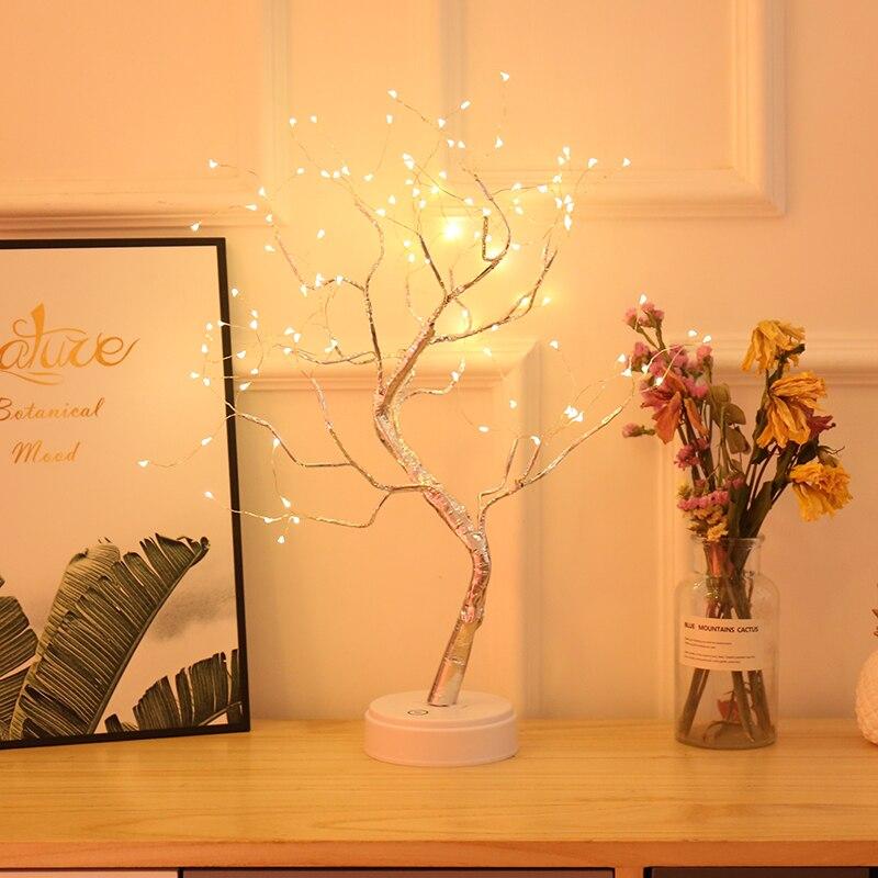 Led الجنية إضاءة ليد ليلية شجرة عيد الميلاد ليلة بطارية مصباح USB تعمل السرير مصباح دراسة ل مقعد غرفة ديكور عطلة الإضاءة