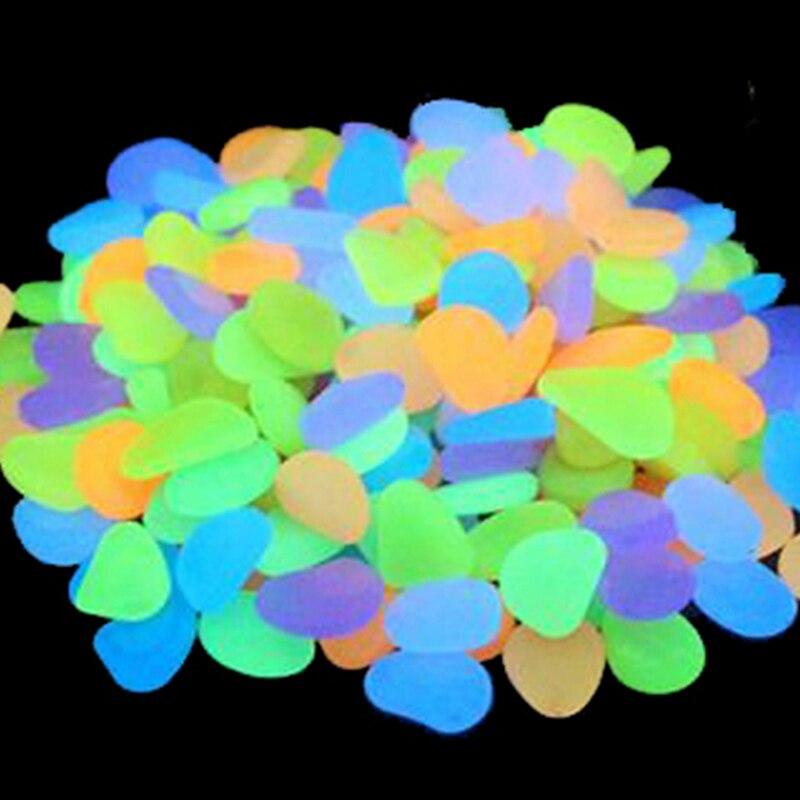 50Pcs Glow in The Dark Garten Kiesel Glow Steine Felsen für Gehwege Garten Pfad Terrasse Rasen Garten Yard Decor leucht steine Dekorative Kiesel    -