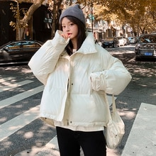 New winter down cotton loose parka coat winter women's coat warm thick long-sleeved large size yello