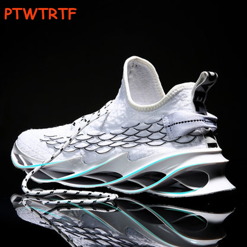 New Men's White Sneakers Male Cushioning Sneakers Breathable Blade Running Shoes For Men Casual Blac