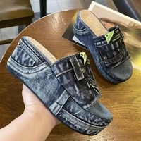 latform wedges slippers women sandals 2021 new female shoes fashion heeled shoes casual summer slides slippers women