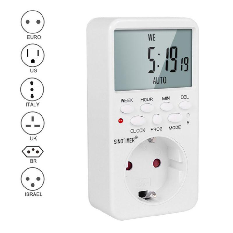 Digitale Timer Socket AC230V Tijd Relais Programmeerbare Eu/Us/Uk/Isr/Br/Het Plug X4YD