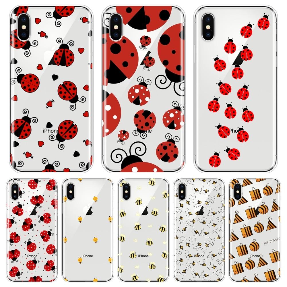 Funda de teléfono para iPhone X XR XS MAX 8 7 6 S 6 S abeja mariquita bonita estética suave de silicona para iPhone 6 S 6 S 7 8 Plus