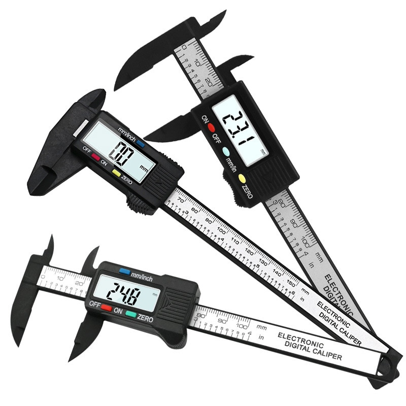 150mm 100mm Calibre Vernier 6/4 pulgadas 0,1mm precisión LCD Digital electrónico pinza de carbono fibra micrómetro herramientas de medición