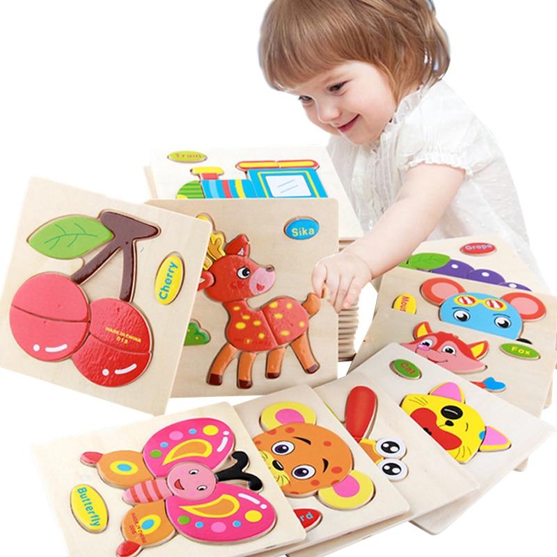 Деревянные 3D головоломки, игрушки, интеллектуальные детские головоломки Tangram для детей, детские Мультяшные животные/дорожные головоломки, ...