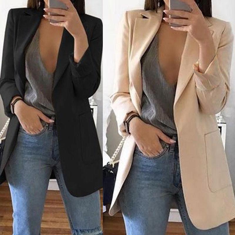 New Fashion Slim Women Elegant  Autumn Suit Jacket Female Office lady Casual  Notched Business Blaze
