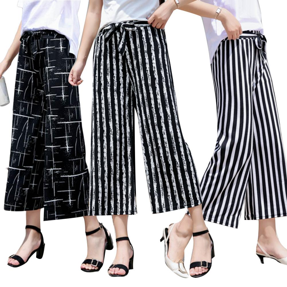 Fashion Women Stripe Loose Straight Wide Leg Drawstring Pants Ninth Trousers Loose Comfortable Ninth Pants