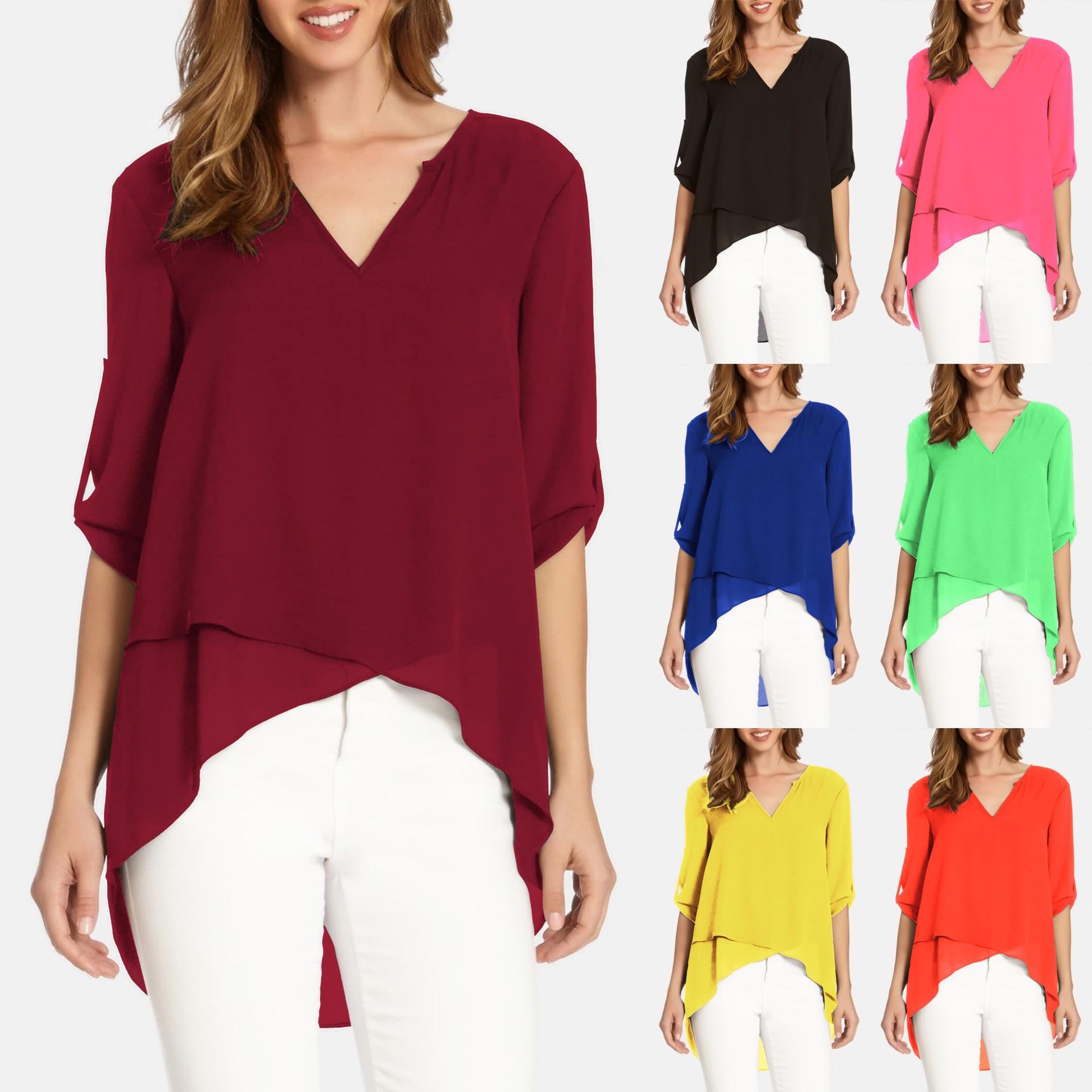 Blusa mujer 2020 estilo caliente cuello pico Color sólido brazaletes Irregular suelto camisa Dropshipping Vestidos YFF6275