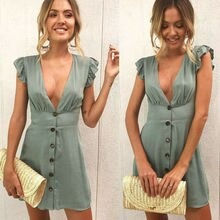 Womens Sexy Holiday Sleeveless Deep V-neck Button Ruffles Casual Evening Party Short Mini Dress Tops