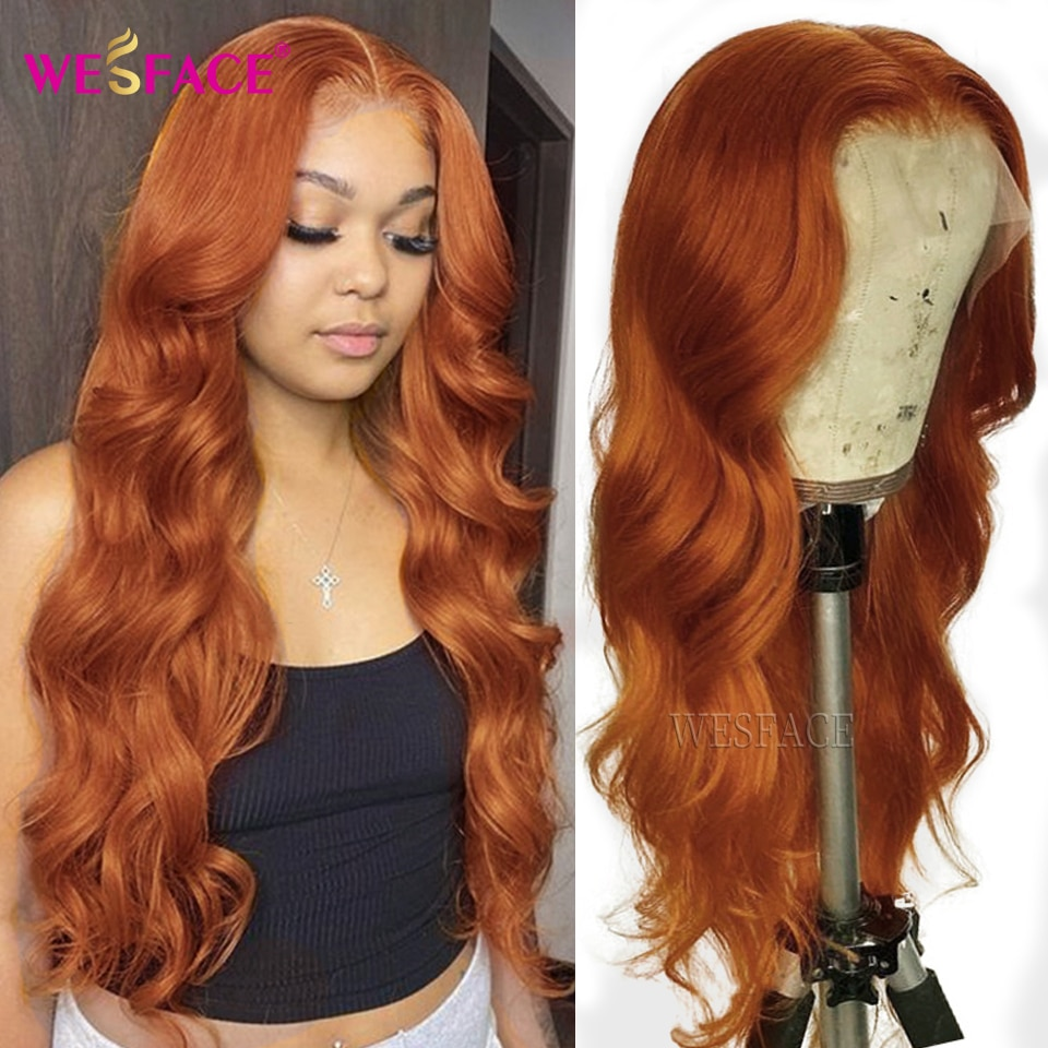 Orange Ginger ColorT Part LaceWigs Pre Plucked Brazilian Wavy Human Hair Wigs Glueless 180% Density Remy Lace Part Wigs