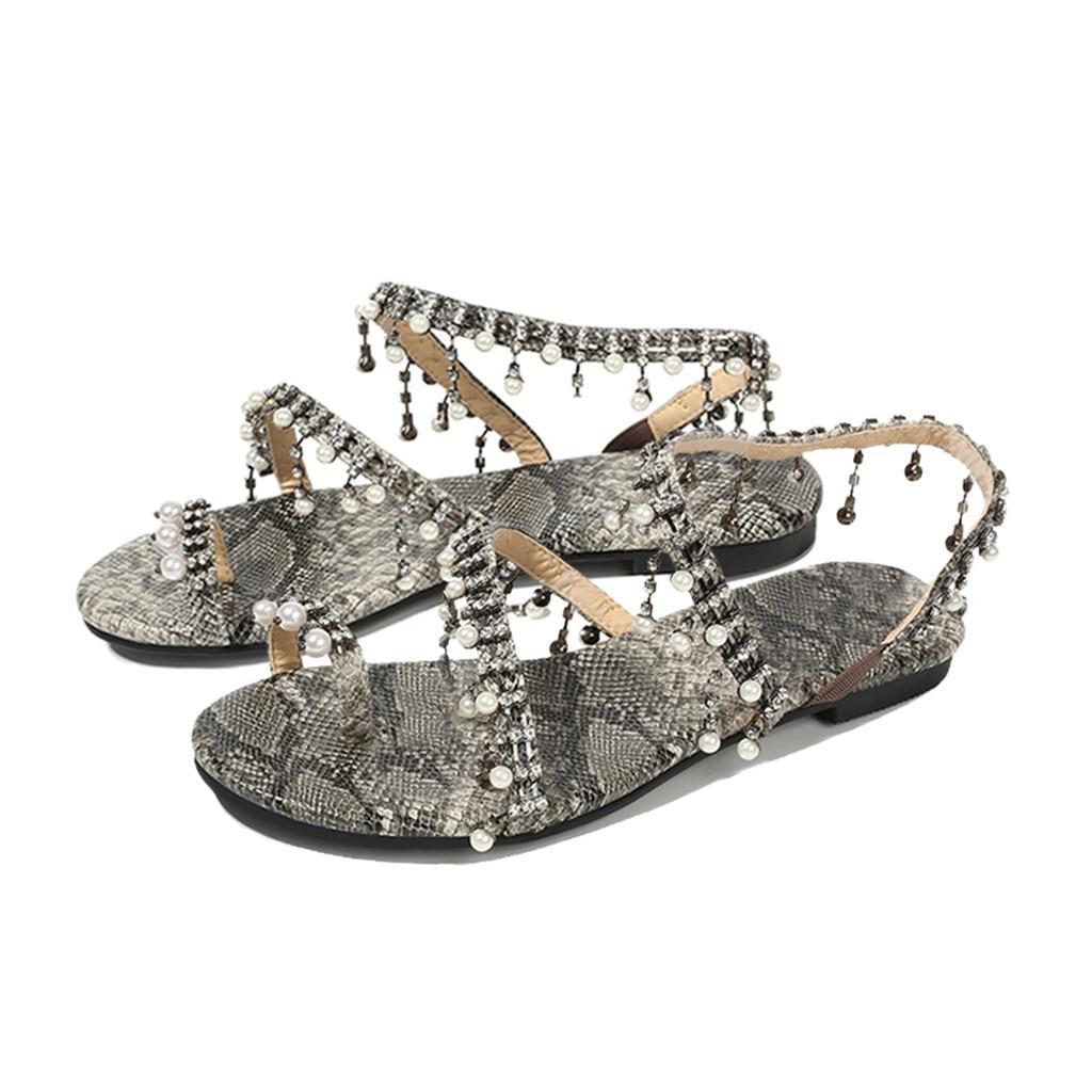 2020 Women shoes Sexy Snake Print Sandals Pearl Retro Rome Flats Simple Style Ladies Fashion Pumps shoes sandalia feminina