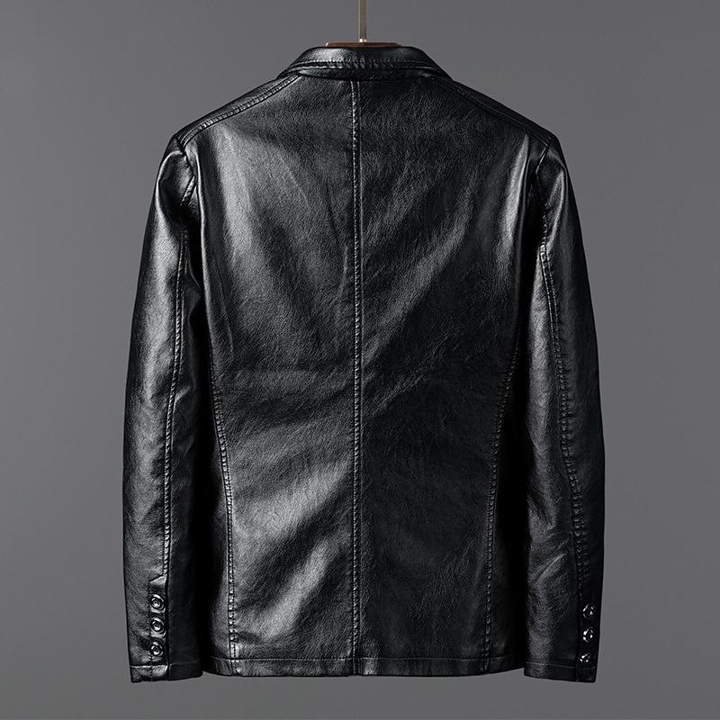 Корейский кожаный мужской осенний Новый Модный Пиджак Pu пальто для молодых и средних лет одежда мужская одежда