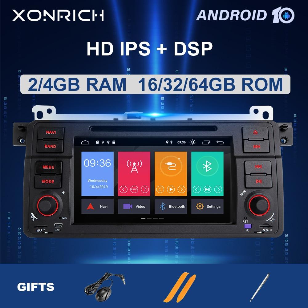 8 Core AutoRadio 1 Din Android 10 Multimedia para coche BMW E46 M3/318/320/325/330/335 Rover 75Coupe NavigationGPS Stereo4 + 64GB DSP