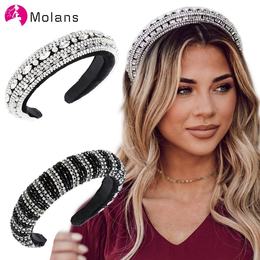Molans brilhante bejeweled acolchoado headbands chique arco-íris strass cristal hairbands para as mulheres sparkly menina larga headbands