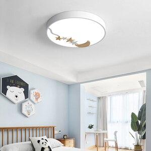 Nordic White Round Bedroom LED Ceiling Lamp 18/27/36W Creative Log Moon Modern Childlike Restaurant Children'sRoom Macaron Lamps