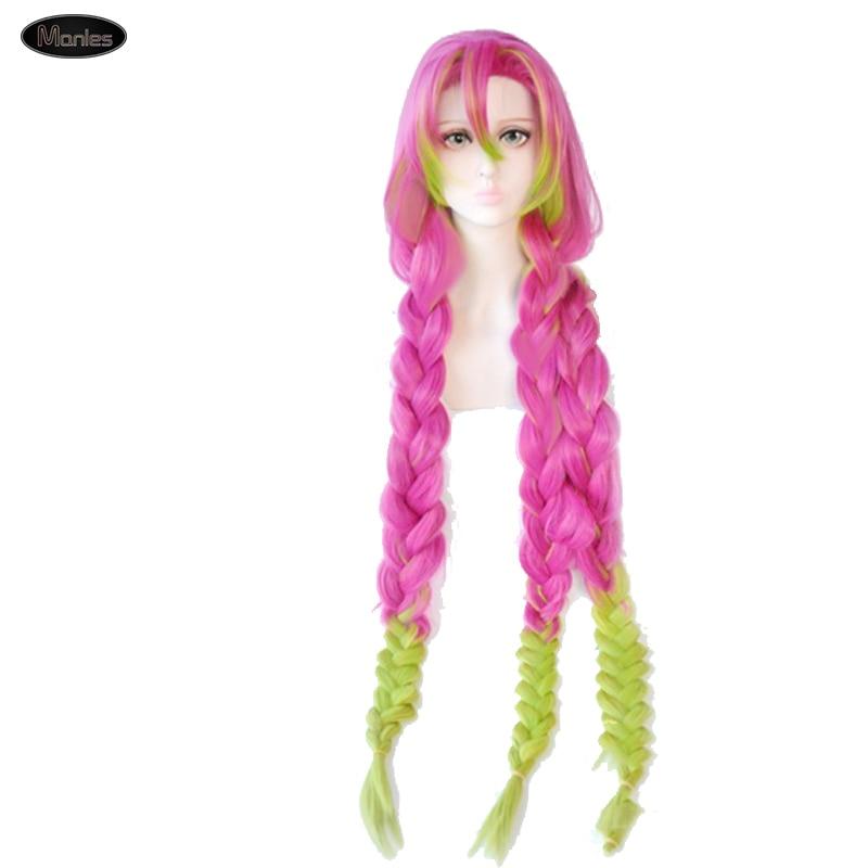 Anime demonio asesino Kimetsu No Yaiba disfraz con peluca Kanroji Mitsuri Carnaval de Halloween para adultos sintético colorido pelo fiesta
