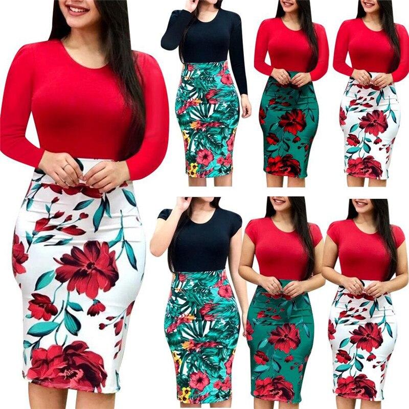 4XL 5XL женское платье большого размера, Осеннее сексуальное облегающее мини-платье, посылка с бедрами, Повседневное платье с длинным рукавом и цветочным принтом, Vestido