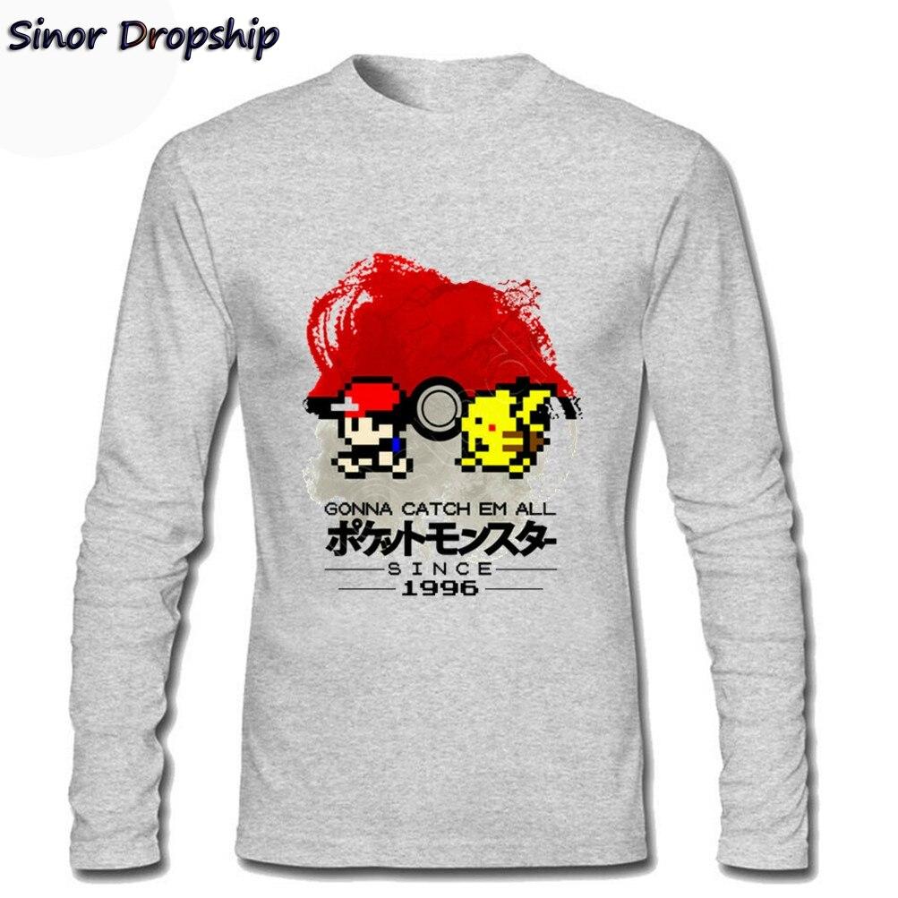 Mens Pokemon 1996 T Shirts Catch Them All Pikachu Anime Pocket Monster Pokeball Mens T Shirts Long Sleeve T-Shirt Koszulka 2XL