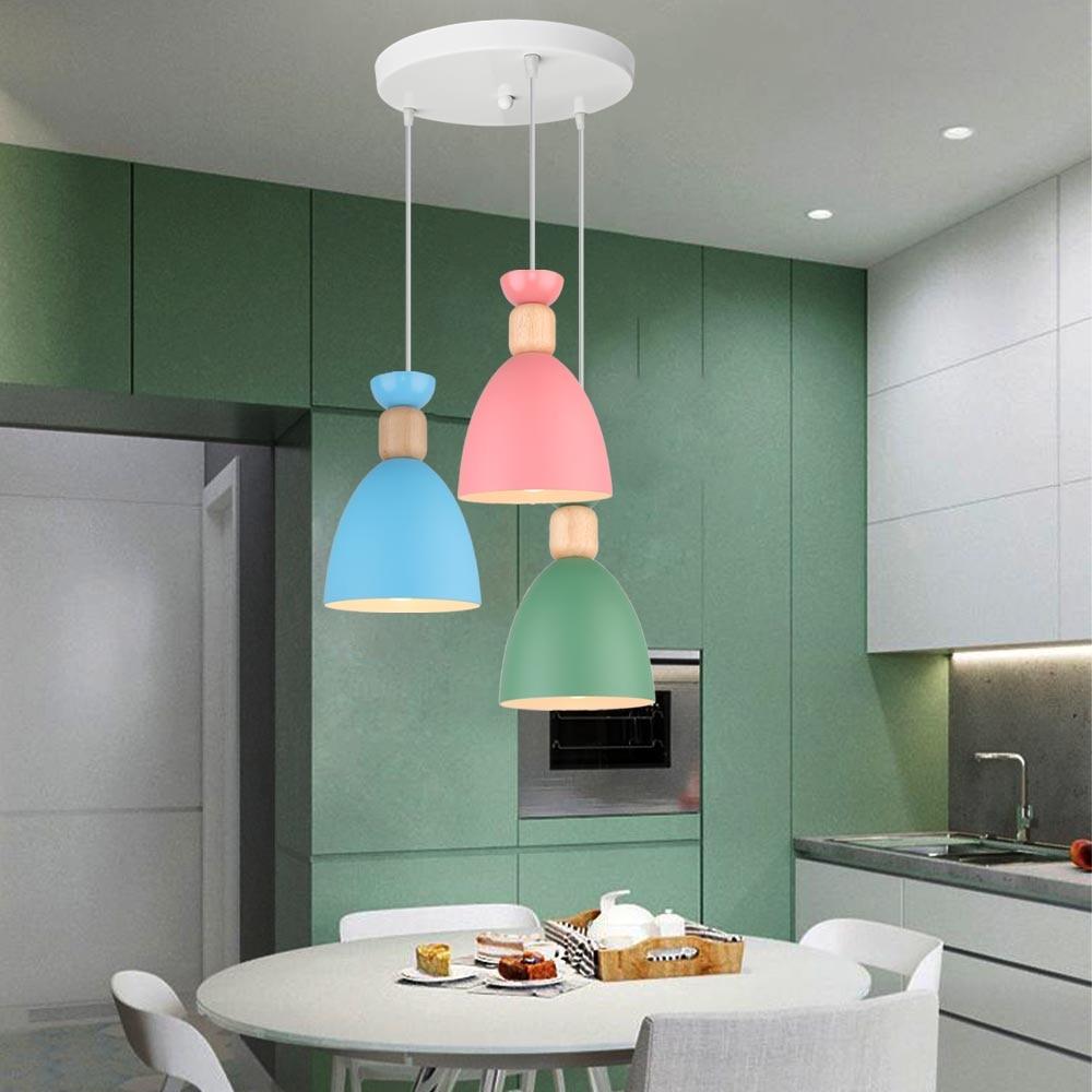 Lámpara Colgante LED De madera para el hogar, accesorio nórdico moderno para cocina, dormitorio, Bar y cafetería, E27