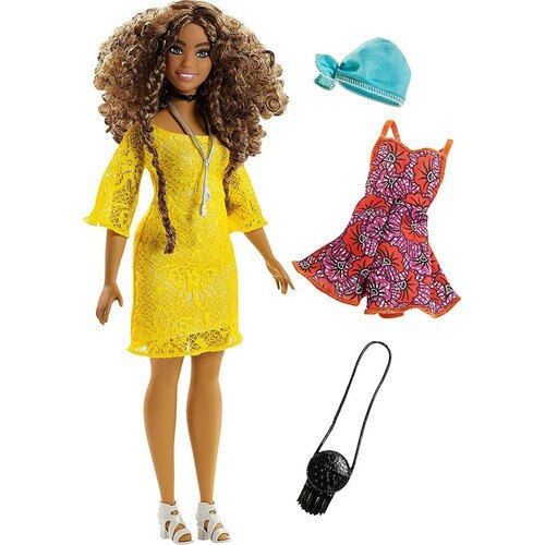 Barbie Fashionista Doll and Outfits-Brunette Fashionista with Curly Hair with Blonde Dress Barbie Doll-Barbie Dress-stylish Doll