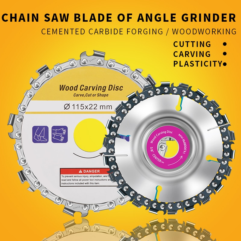fatcool 22 tooth grinder chain disc wood carving disc 4 inch for 100 115mm angle grinder power tool accessoires OUDISI Wood Carving Disc Woodworking Chain Grinder Chain Saws Disc Chain Plate Tool for 125MM 115MM Angle Grinding 5 Inch 4 inch