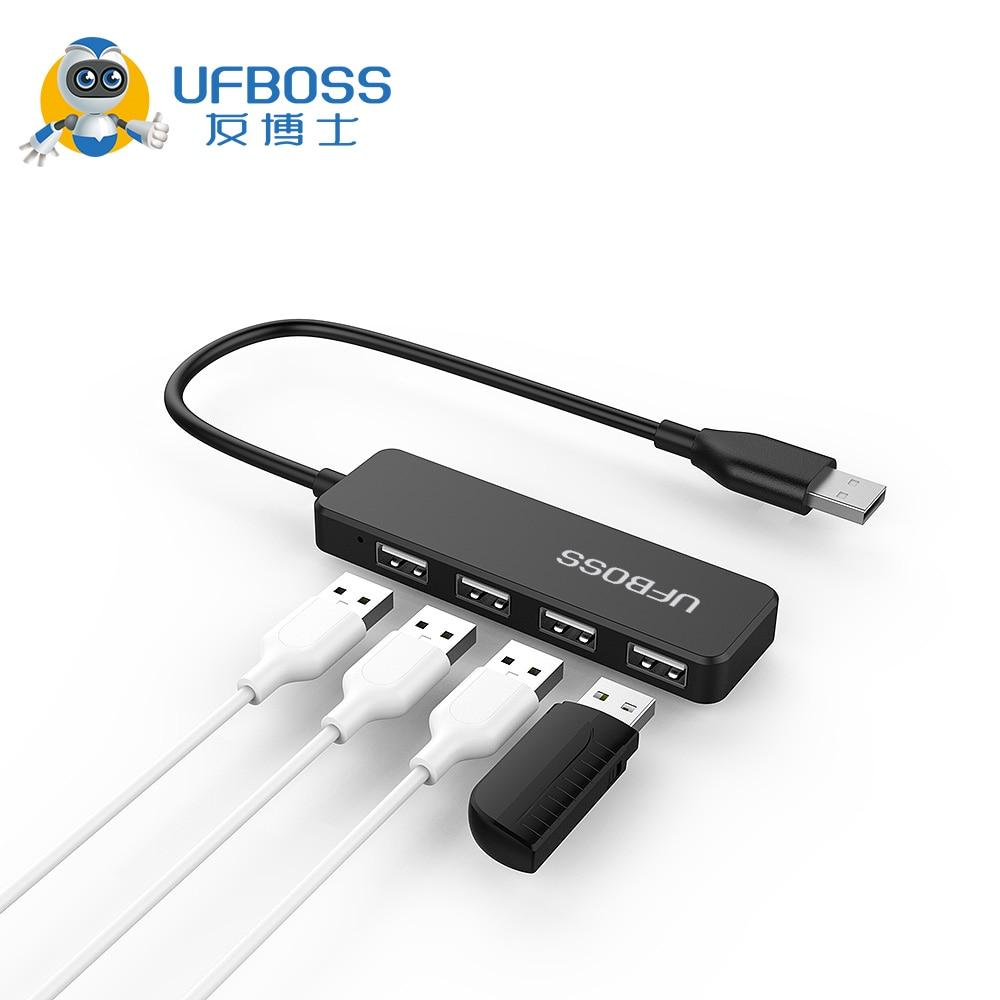 UFBOSS USB2.0 Ultra-Delgado 4 puertos USB 2,0 Alta Velocidad 30CM HUB adaptador para PC laptop superficie