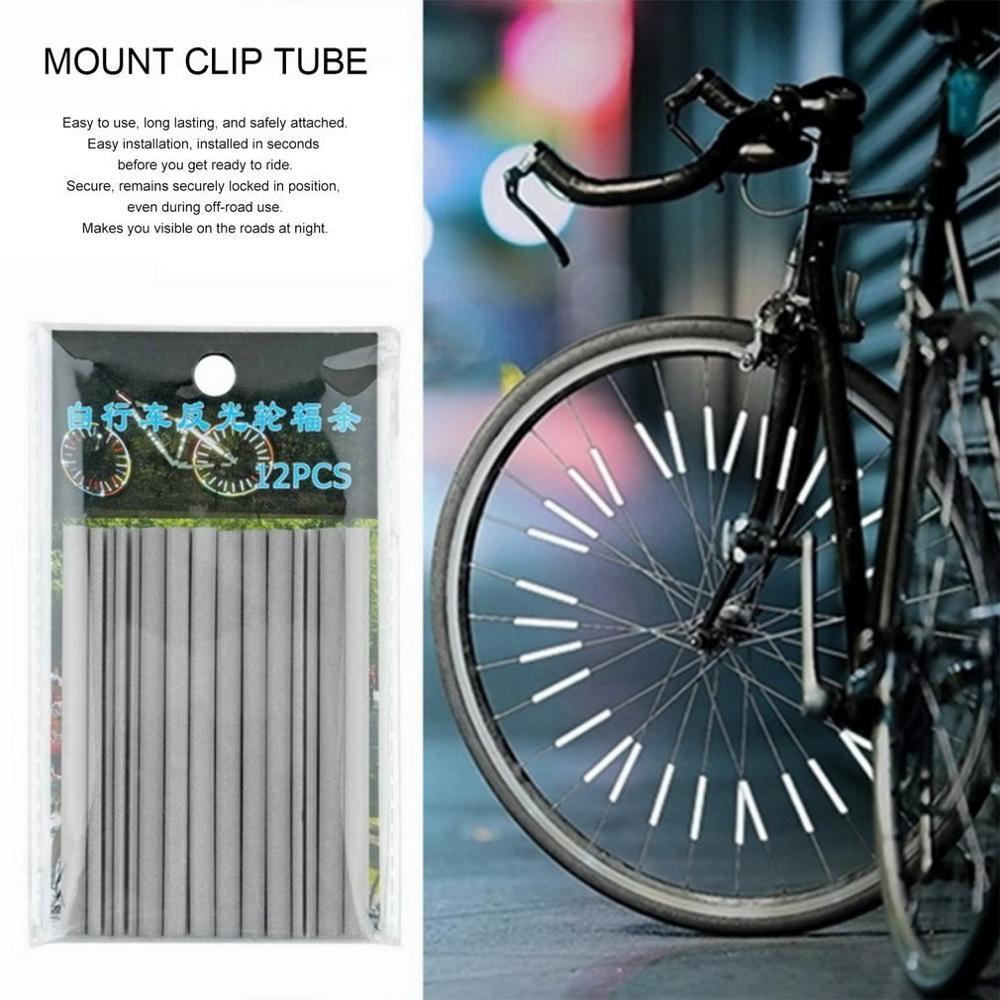 12 unids/bolsa bicicleta llanta Radio para bicicleta tubo de montaje tira de luz de advertencia Reflector de seguridad DIY bicicleta tubos reflectantes Dropship nuevo