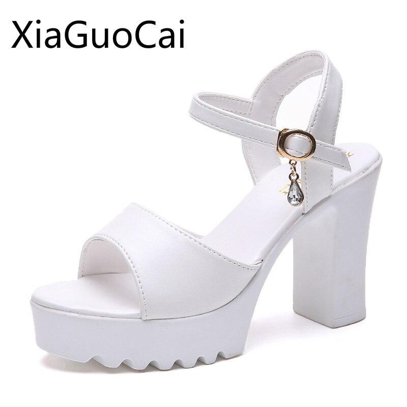 Blanco de moda de las mujeres Sandalias de tacón grueso sandalias de plataforma para mujer impermeable Peep Toe 2020 sandalias de las mujeres