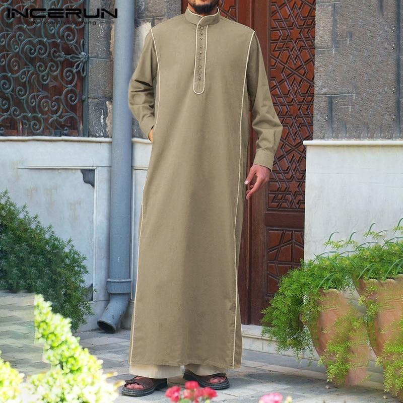 INCERUN Men Solid Muslim Clothes Kaftan Jubba Thobe Saudi Arabic Thobe Kaftan Dress Men Islamic Arab Kaftan Long Sleeve Robe 5XL