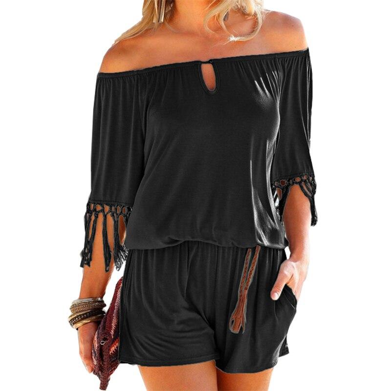 Повседневные женские летние костюмы пляжного типа, сексуальные пляжные комбинезоны с вырезом лодочкой и кисточками, шорты, комбинезоны для девочек в стиле бохо, комбинезоны с карманами XXL GV923