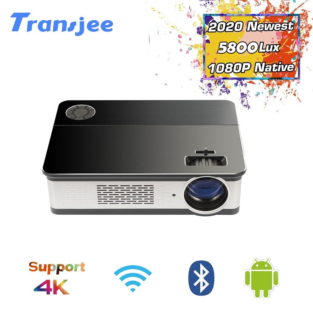 TRANSJEE proyector 4K para teléfono completo HD teatro 3D Android LED Projecor 1920x1080 Vital proyector 5800 lúmenes