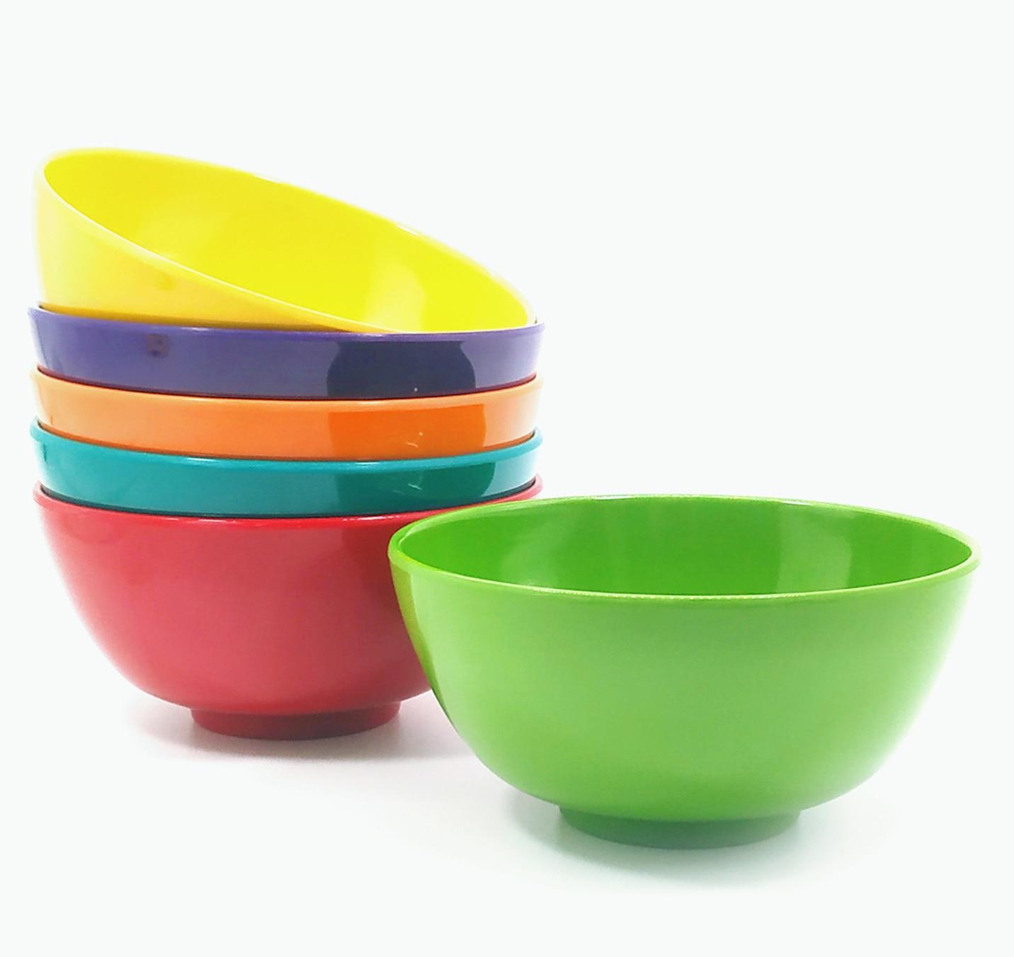 Juego de 6 tazones de ensalada de melamina de 100%, cuencos redondos de melamina para sopa y cereales de 6 pulgadas, resistentes a roturas y sin BPA, Multicolor
