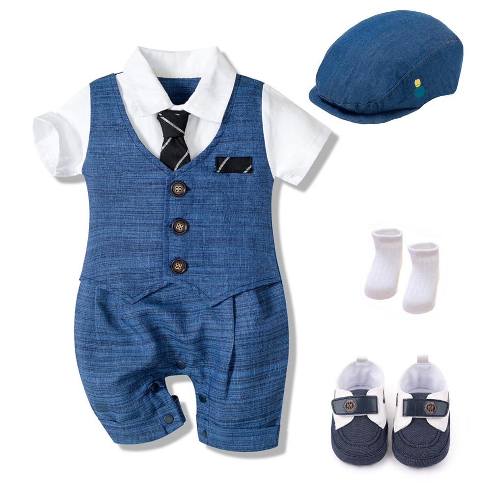 Summer Baby Romper Suit Newborn Boys Formal Clothing Cotton Children Hat + Jumpsuit + Shoes + Socks 4 Pieces Outfit Blue Costume