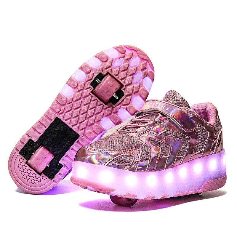أحذية رياضية بعجلات مضيئة للأطفال ، أحذية تزلج بعجلات مزدوجة مشحونة بمنفذ USB للأطفال