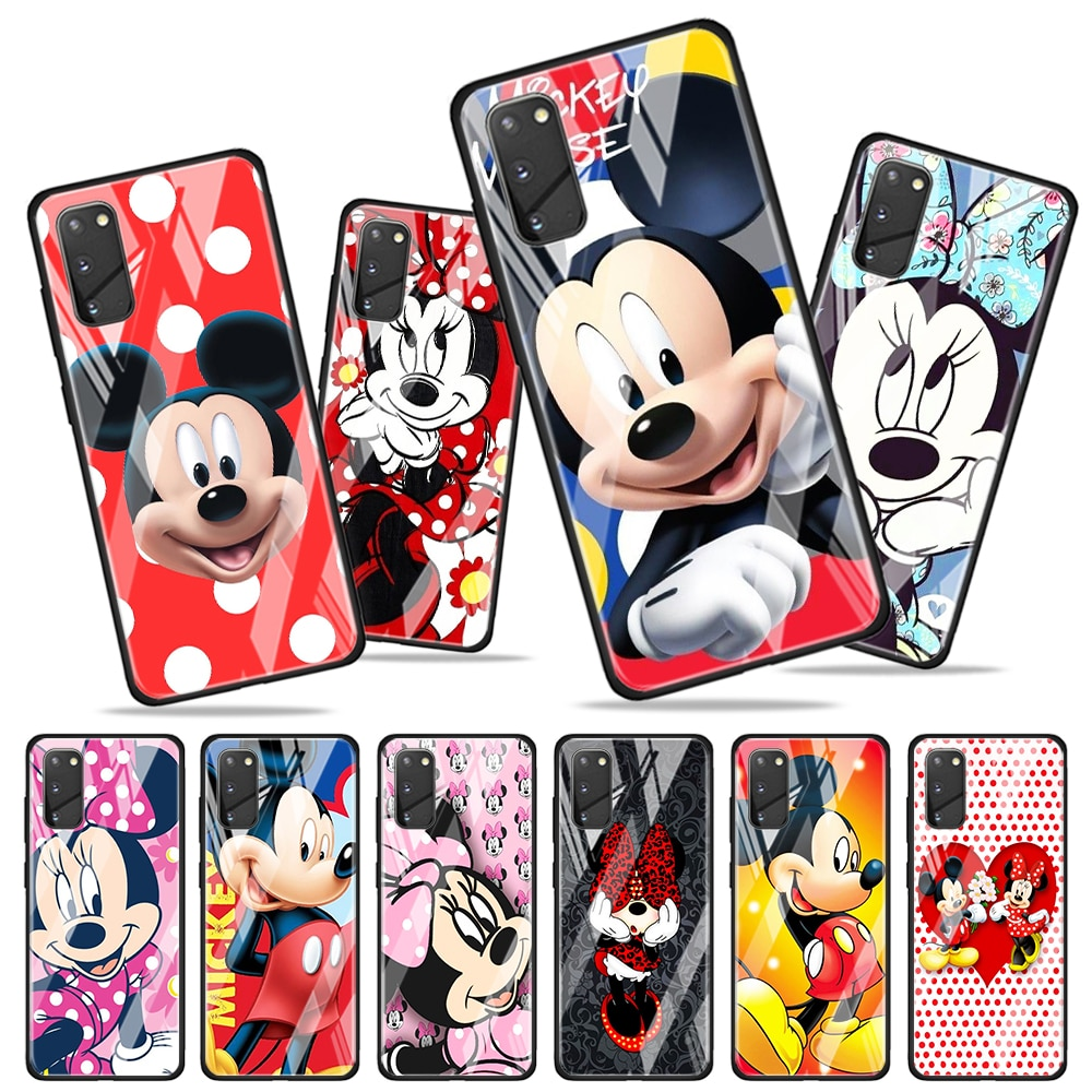 Mickey mouse cartoon for Samsung Galaxy S20 FE Ultra Note 20 S10 Lite S9 S8 Plus Luxury Tempered Gla
