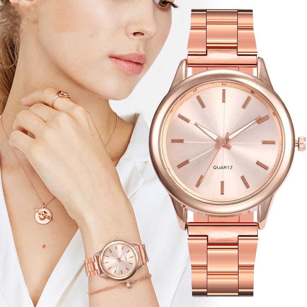 Relógio feminino de aço minimal, relógio de aço da moda simples e elegante bayan kol saati, relógio de senhoras @ s
