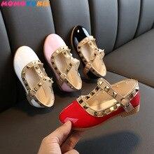 2021 New Girls Sandals Rivets Single Shoes Kids Leather Shoes children nude sandal toddler Girls Pri