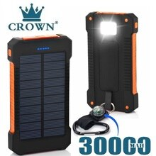 For Xiaomi Smartphone with LED Light Solar Power Bank Waterproof 30000mAh Charger 2 USB Ports Extern