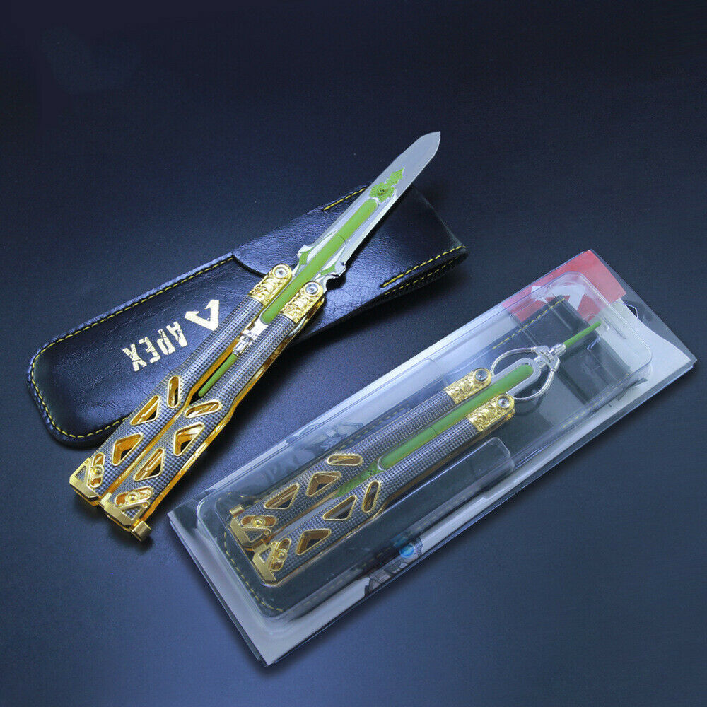 Apex Legends Octane Butterfly Knife Cosplay Heirloom Luminous Balisong Weapon Prop Collection