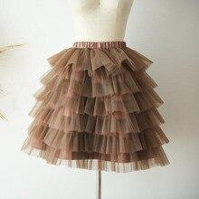 Faldas de Chocolate inflado, falda personalizada para mujer, faldas tutú con cinta tipo tutú elástica escalonada, faldas para mujer, jupe femme
