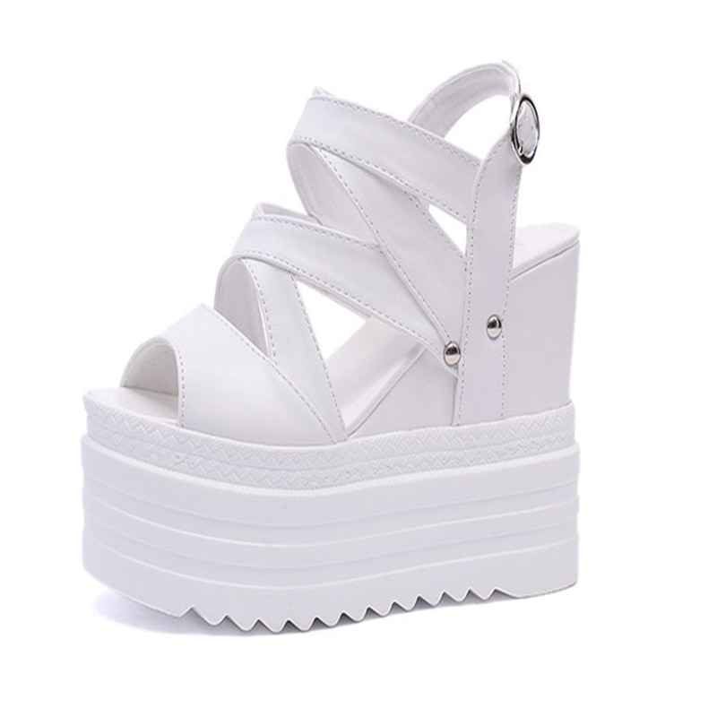 Women's shoes 2020 summer high heels Roman women's shoes net red shoes waterproof hollow comfortable inside high sandals