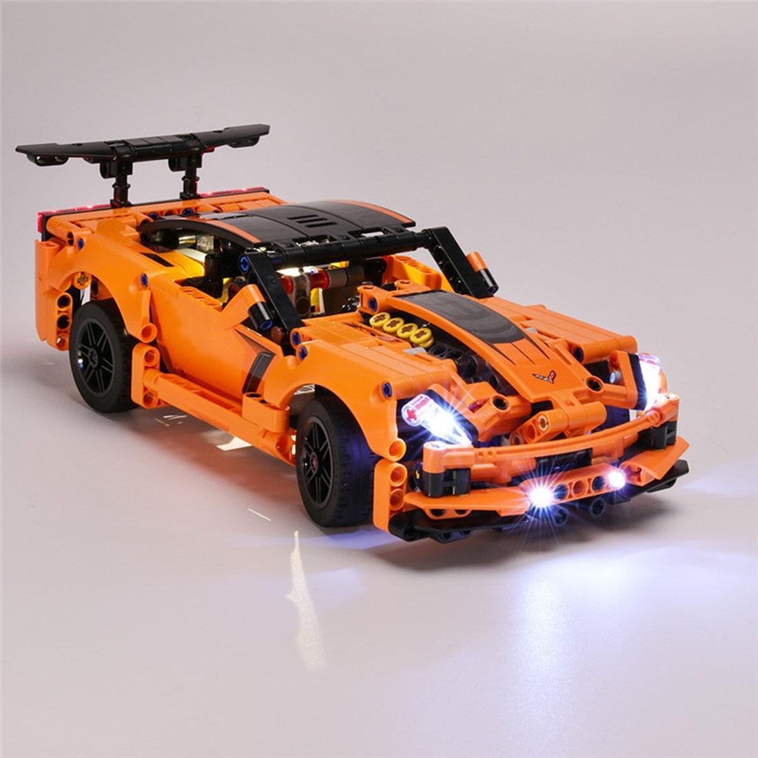 Juguete de partículas pequeñas, bloques de construcción LED, Kit de accesorios de luz USB para ZR1 42093, regalo de la serie de bloques de coche Super naranja, 42093