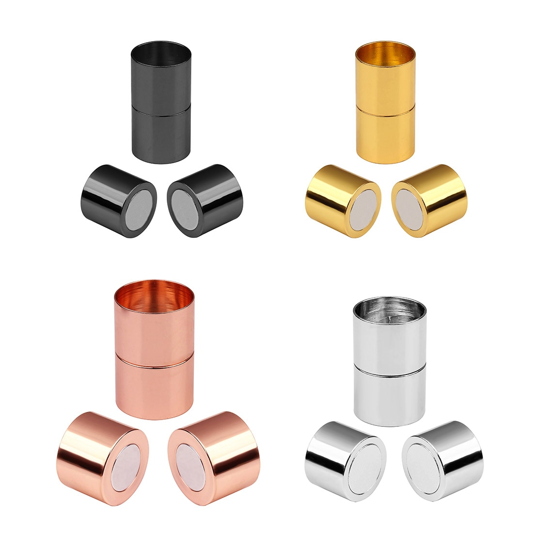 5Sets Magnetic Clasps 3-15Mm Gold Rhodium Color Leather Cord Bracelets Clasp Connectors End Cap For