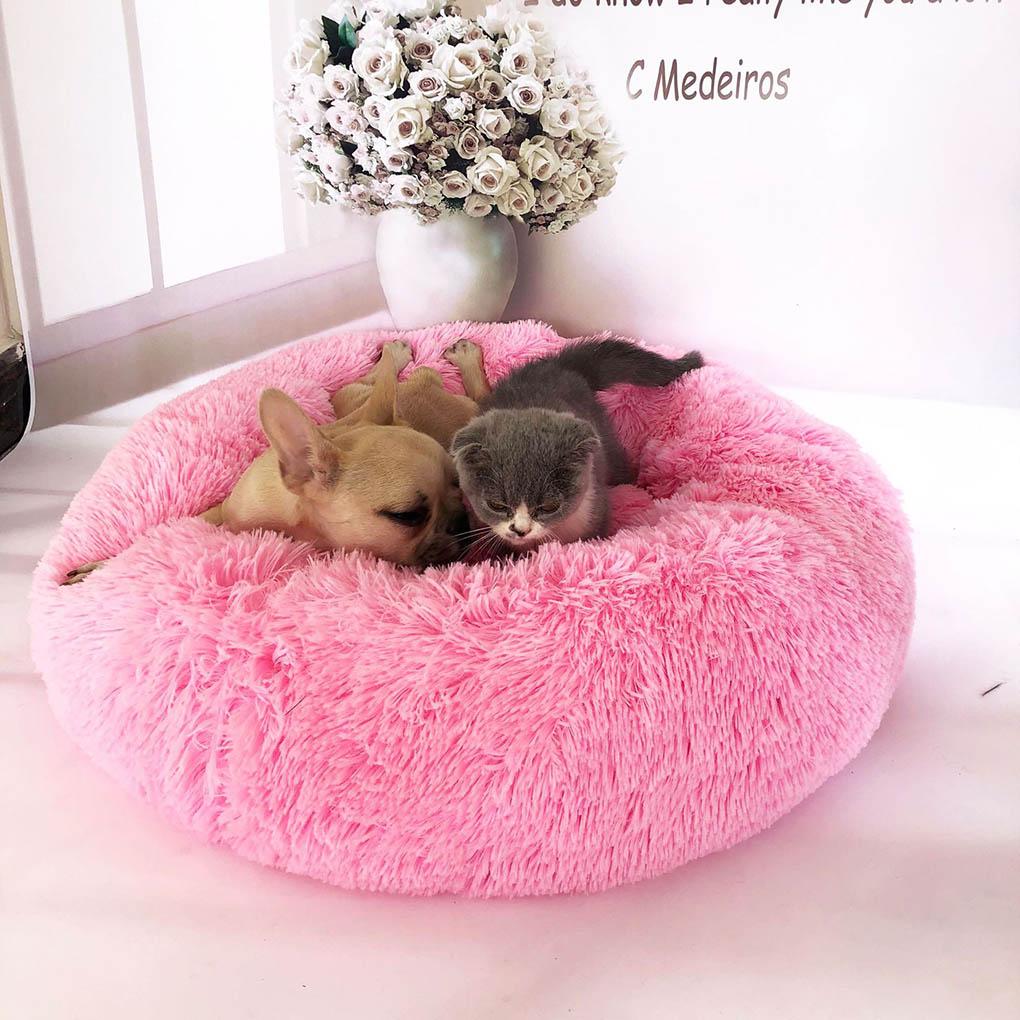 Peluche de Mascota para cama perro gato cama calmante nido redondo cálido suave felpa cama para dormir mascotas invierno interior perrera duradera cómoda cama para mascotas