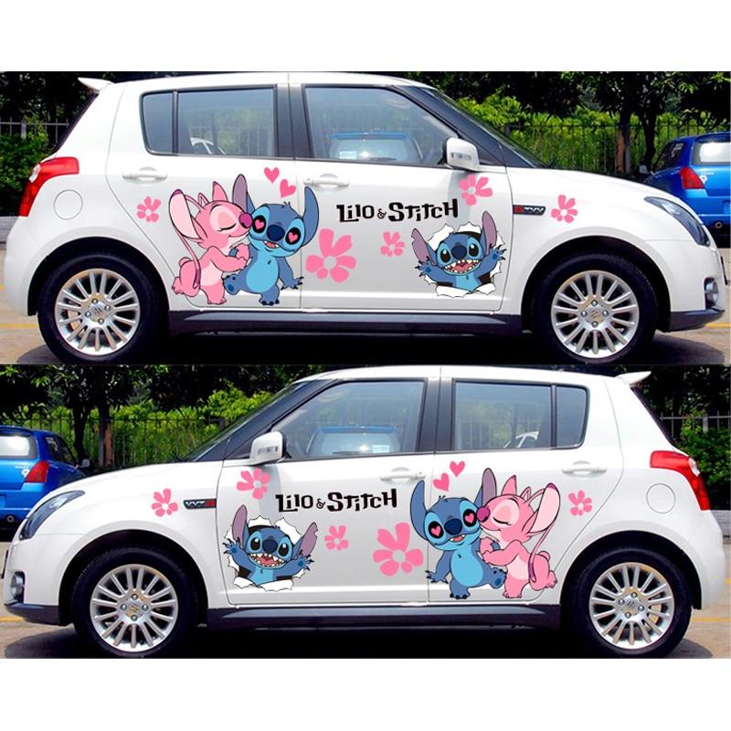 Calcomanías divertidas de coches, pegatinas de Anime Itasha para Lilo y Stitch La serie pegatina de camuflaje, calcomanía de carreras para puerta de coche